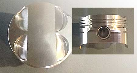 Top and side view of MM 3200 Rally piston for M50, M52, S50, S52 Engines